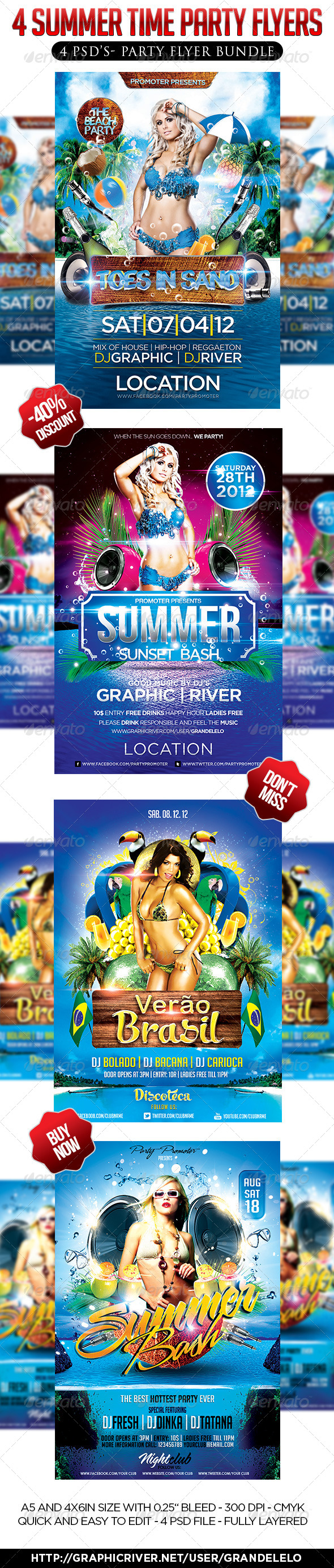 4 in 1 Summer Party Flyer Bundle - Clubs & Parties Events