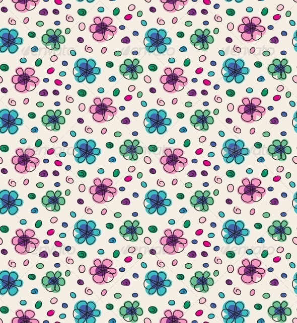 Funny Colorful Seamless Pattern with Flowers - Patterns Decorative