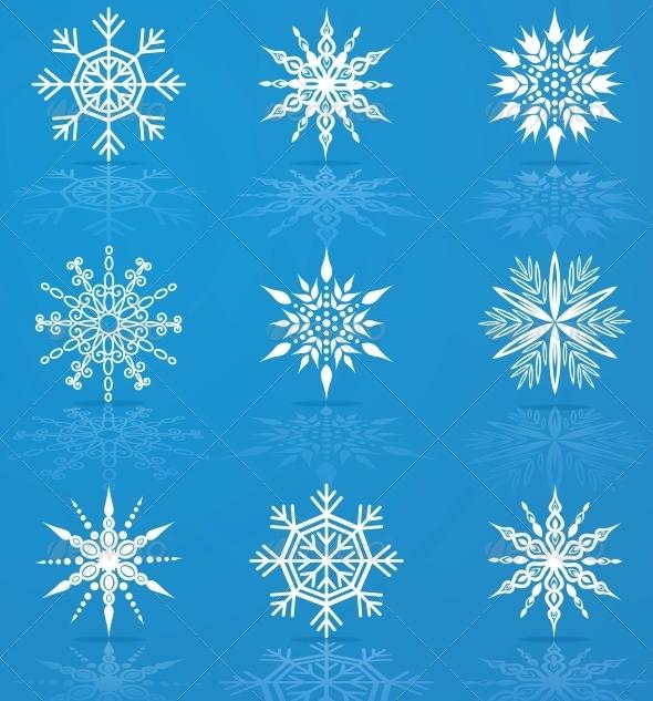 Set of Vector Snowflakes - Web Elements Vectors