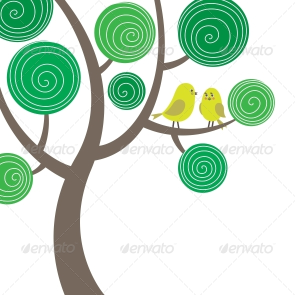 Decorative Composition of Two Birds on the Tree - Animals Characters