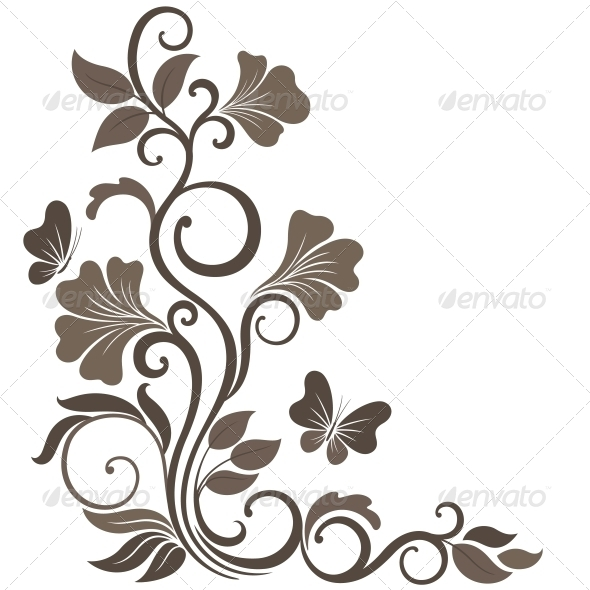 Floral Vector Illustration in Sepia - Flowers & Plants Nature