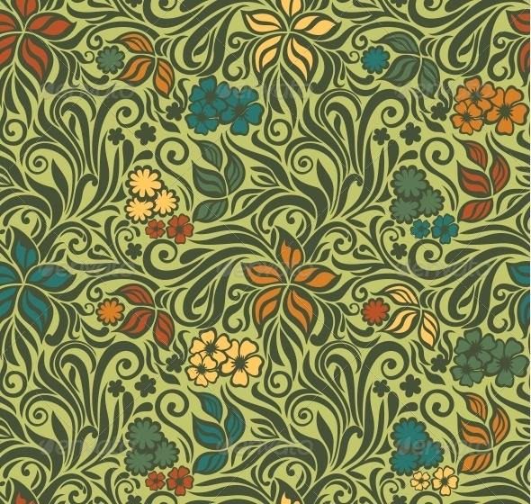 Decorative Floral Retro Seamless Background - Patterns Decorative