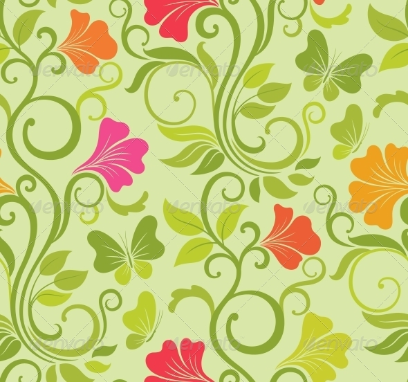 Floral Vector Seamless Background - Patterns Decorative