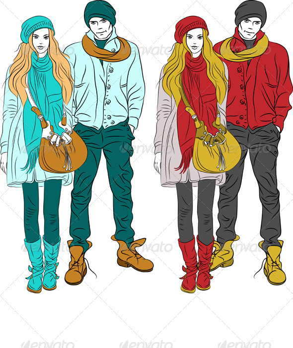 Stylish Guy and Girl in Warm Clothes - People Characters