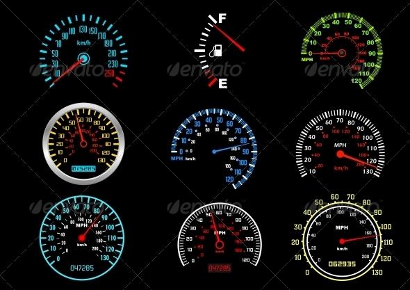 Car Speedometers - Miscellaneous Vectors