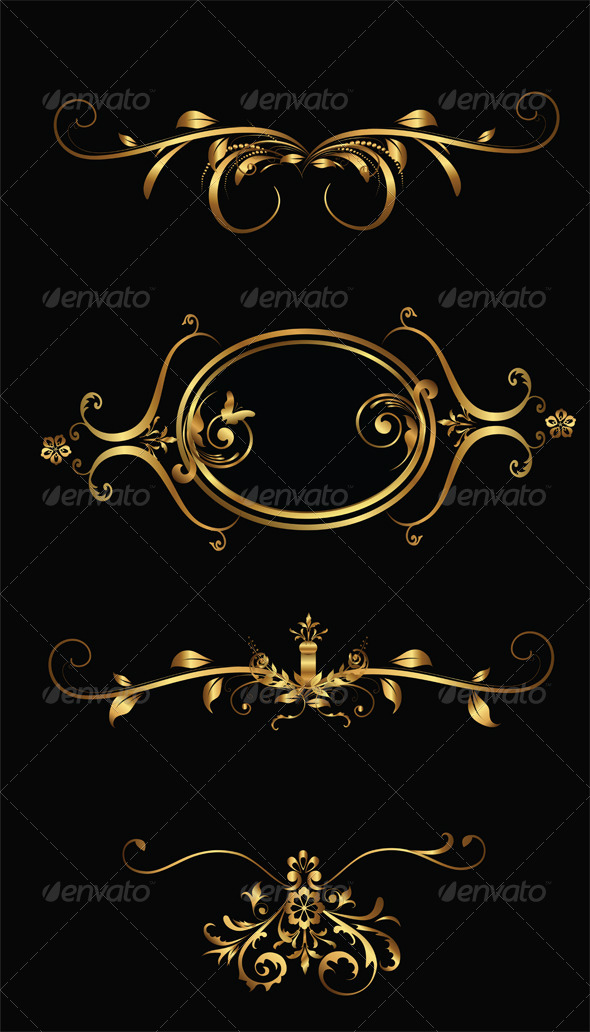 Vector Gold Frames - Flourishes / Swirls Decorative