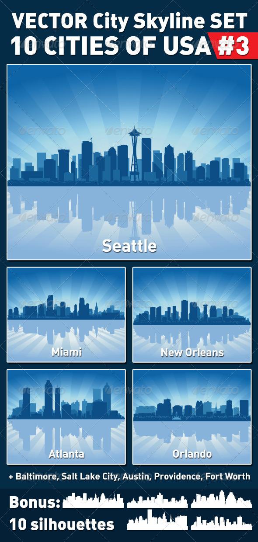 Vector City Skyline Set. USA #3 - Buildings Objects
