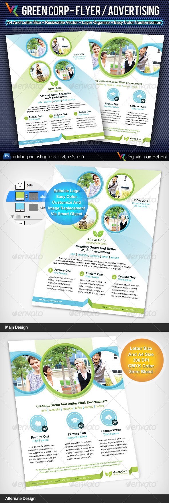 Green Corporate Flyer Or Advertising - Corporate Flyers