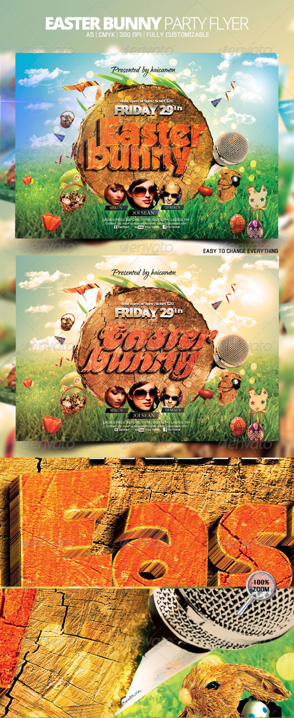 Easter Bunny Party Flyer - Flyers Print Templates