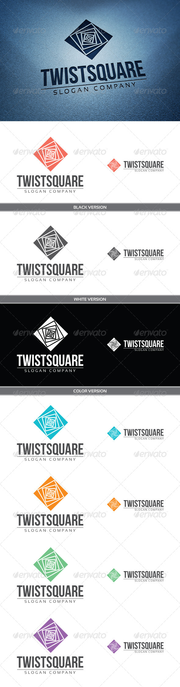 Twist Square - Objects Logo Templates