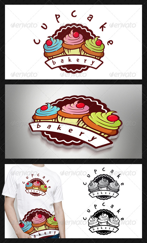 Cupcake Bakery Logo Template - Food Logo Templates