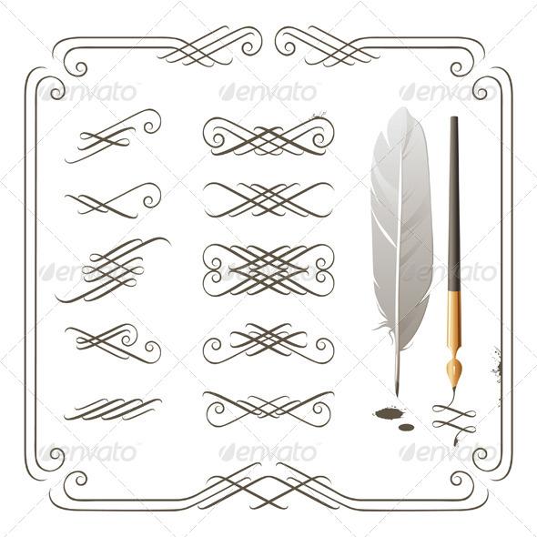 Calligraphic Elements - Flourishes / Swirls Decorative