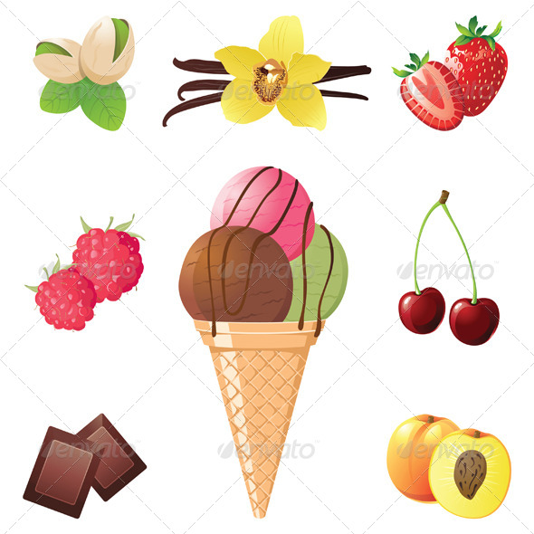 Ice Cream Cone and Flavor Icons - Food Objects