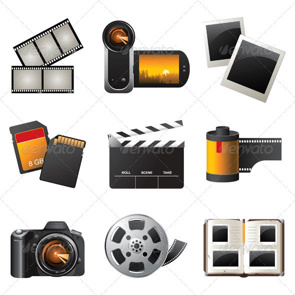 Photo and Video Icons - Objects Vectors