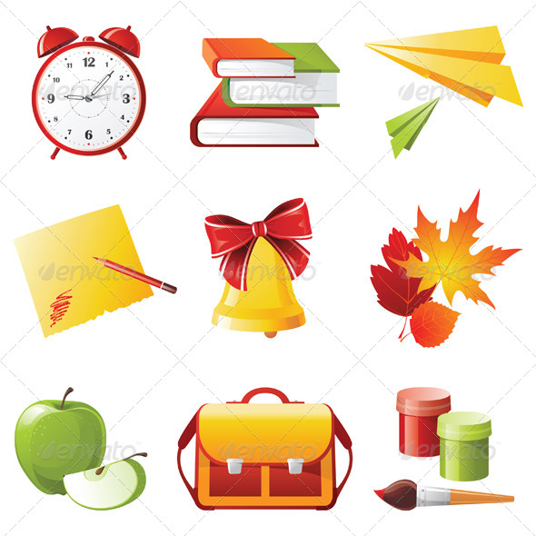 School Icons - Objects Vectors