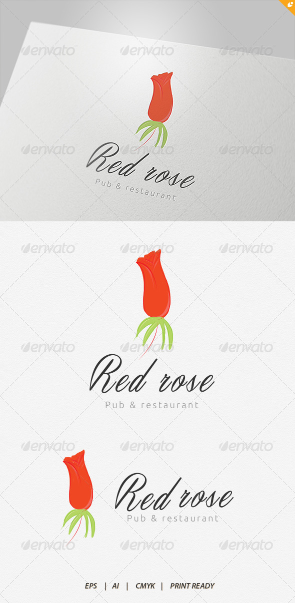 Red Rose Pub and Restaurant Logo - Nature Logo Templates