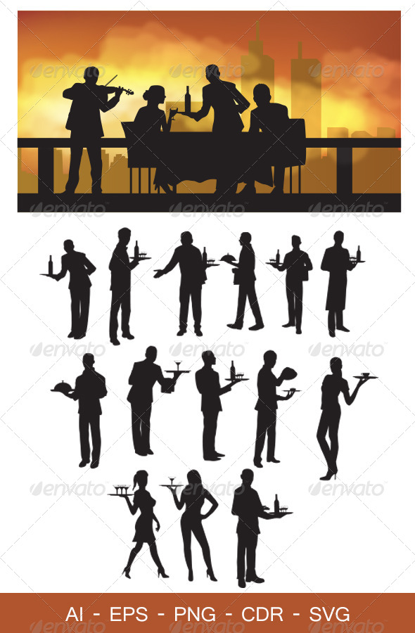 Waiter Silhouettes - People Characters
