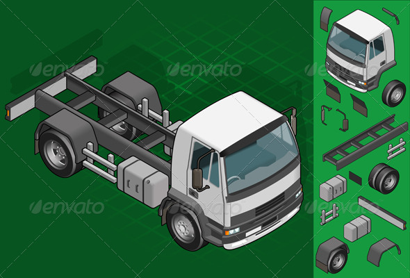Isometric Truck Solo Driving - Objects Vectors