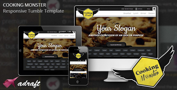 Cooking Monster – Responsive Tumblr Theme