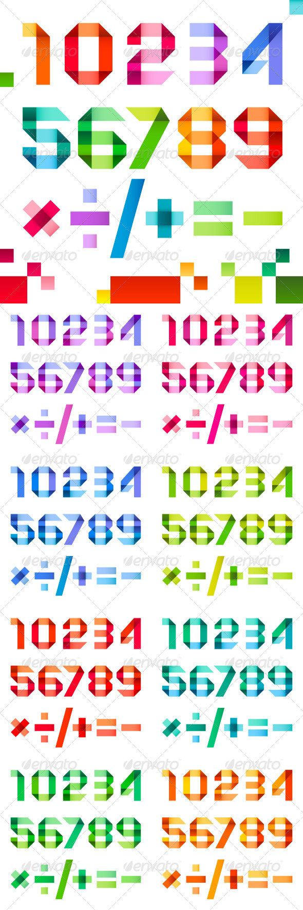 Spectral Numbers Folded of Ribbon Colored Paper - Miscellaneous Conceptual