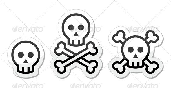 Cartoon Skull with Bones  - People Characters