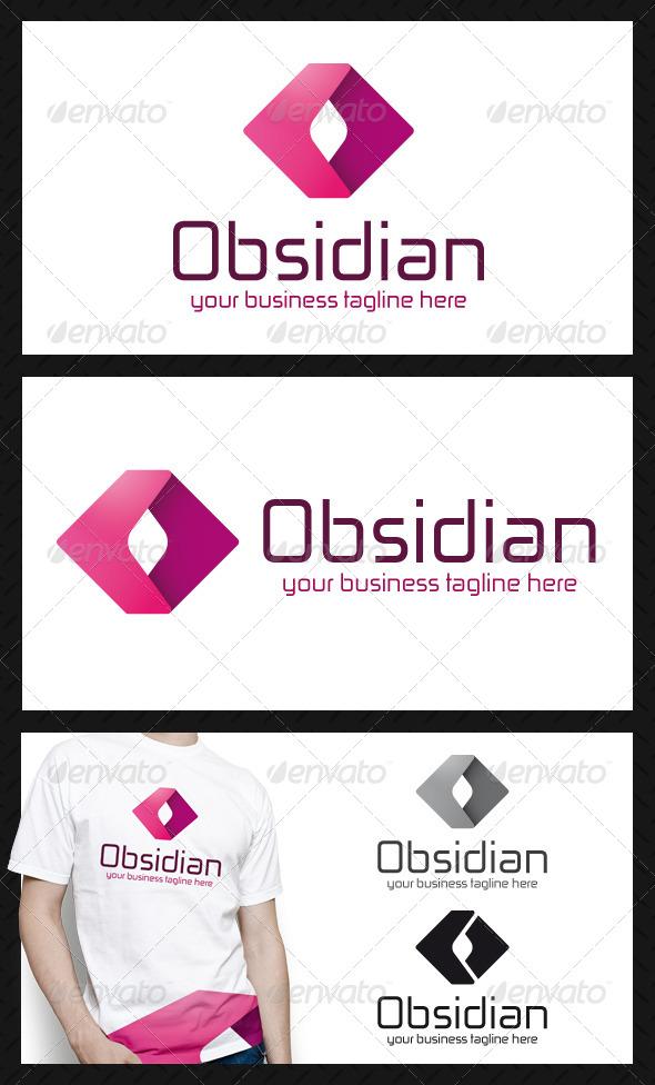 Obsidian Media Logo Template - 3d Abstract