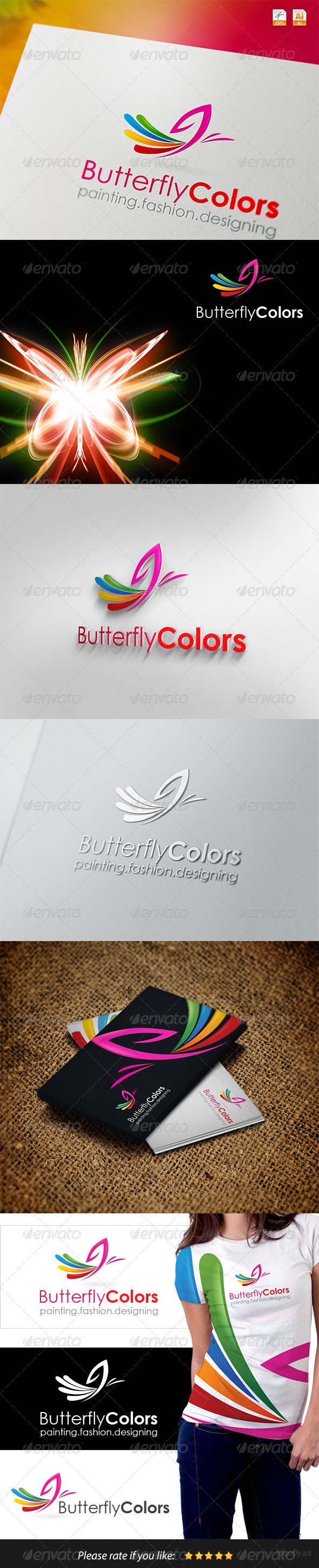 Butterfly Colors Logo - Vector Abstract