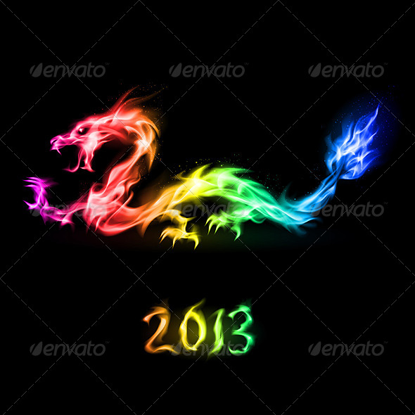 Fire Rainbow Dragon - Characters Vectors