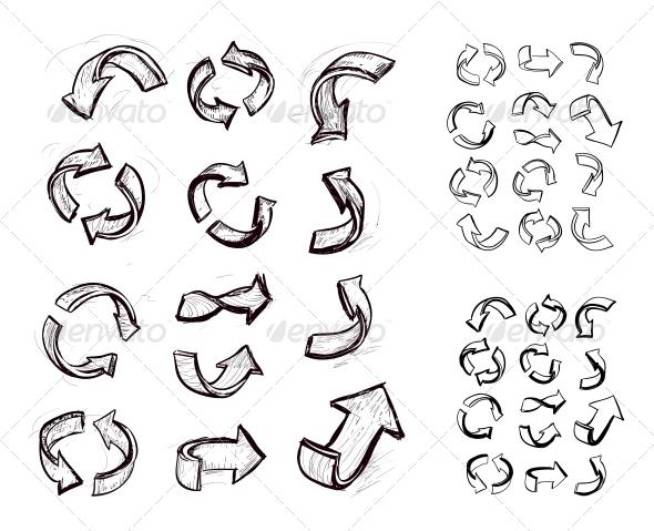 Hand Drawn Arrows Set - Decorative Symbols Decorative