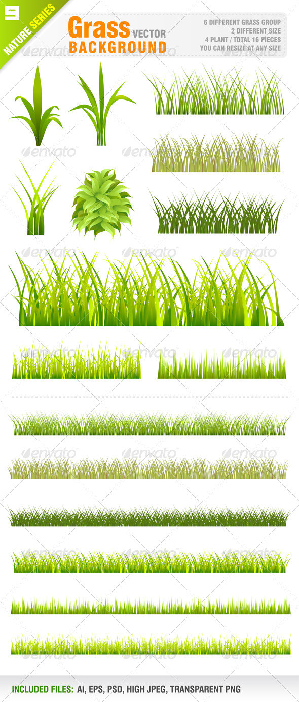 Grass Background Set - Flowers & Plants Nature