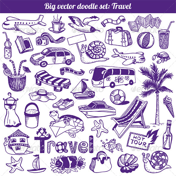 Travel Doodles Collection Vector - Travel Conceptual