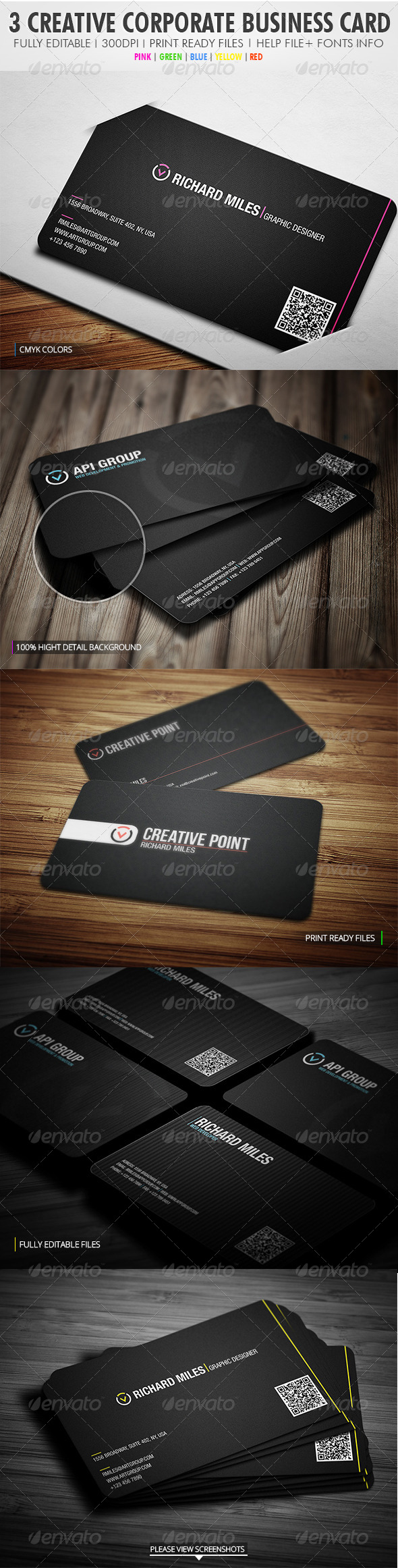 3 In 1 Creative Corporate Bundle - Corporate Business Cards