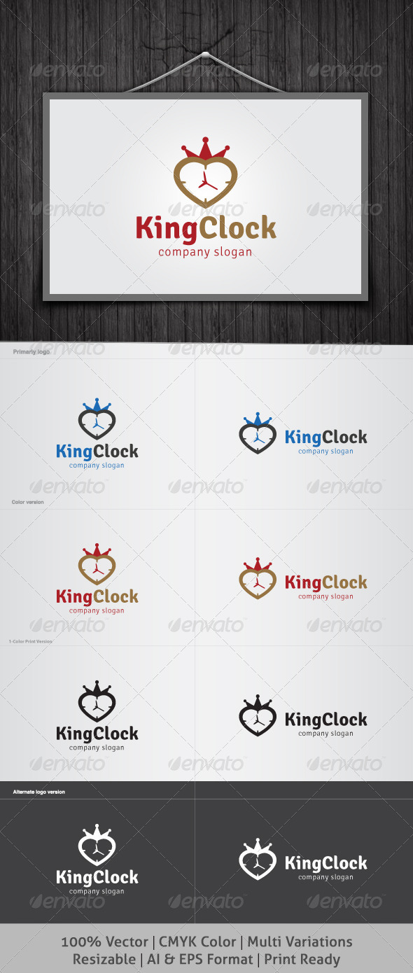 King Clock Logo - Objects Logo Templates