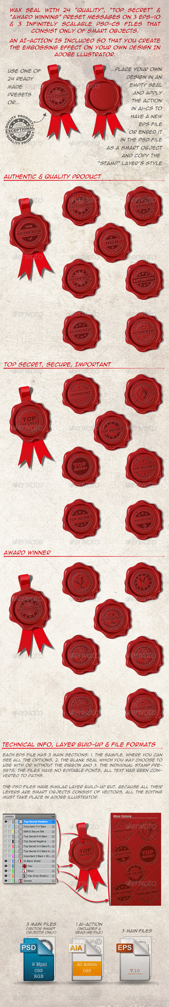24 Wax Seals Top Secret Award Winner and Quality - Man-made Objects Objects