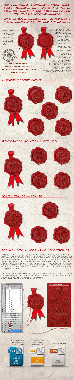 15 Wax Seal - Warranty, Guaranty, Money Back - Man-made Objects Objects