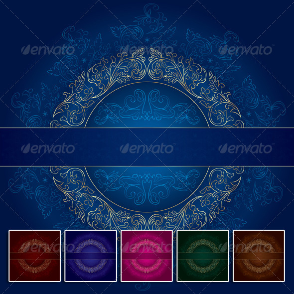 Floral Gold Frame with Vintage Patterns on Blue - Borders Decorative