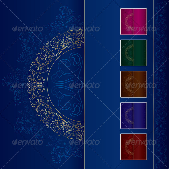 Gold Vintage Floral Patterns on Blue - Backgrounds Decorative