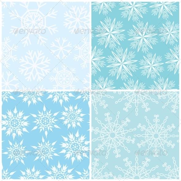 Four Winter Seamless Backgrounds - Christmas Seasons/Holidays