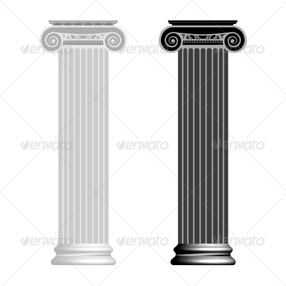 Ionic Column Isolated on White Background - Backgrounds Decorative