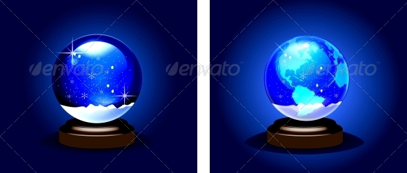 Empty Snow Dome over Blue Background - Christmas Seasons/Holidays