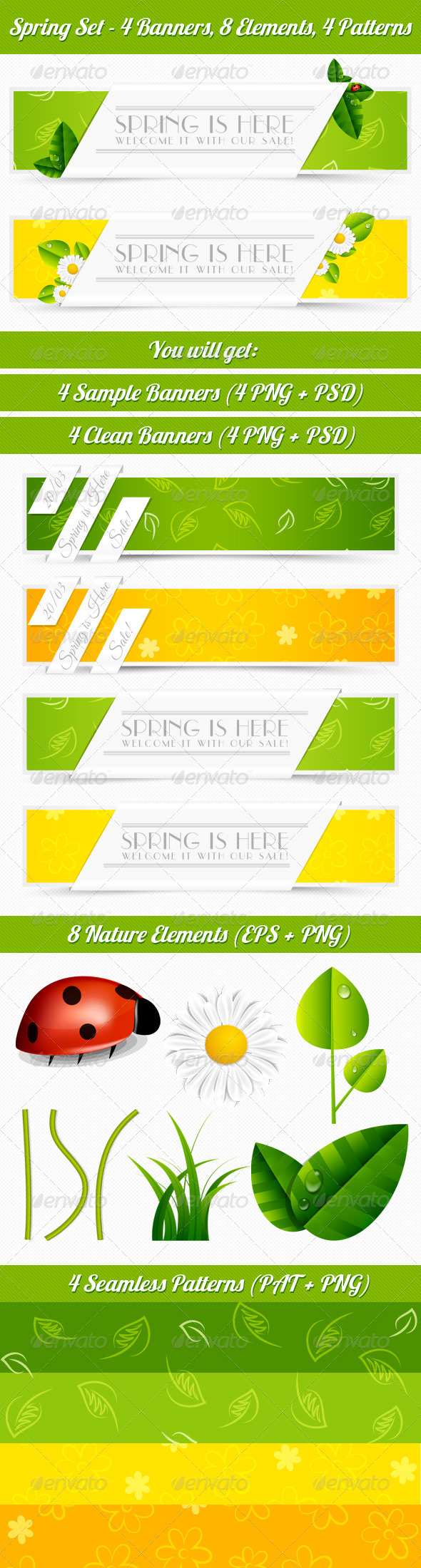 Spring Banner Set - Banners & Ads Web Elements