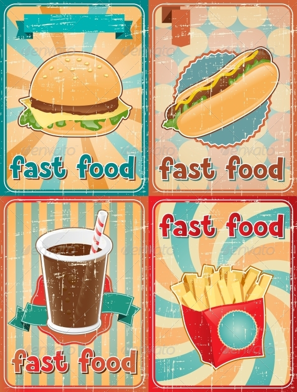 Retro Backgrounds with Fast Food - Food Objects