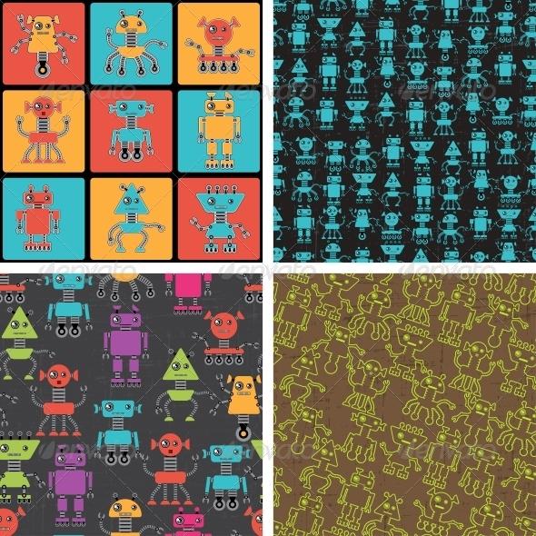 Cartoon Robot Seamless Patterns - Computers Technology