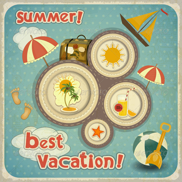 Summer Vacation Card in Vintage Style - Travel Conceptual
