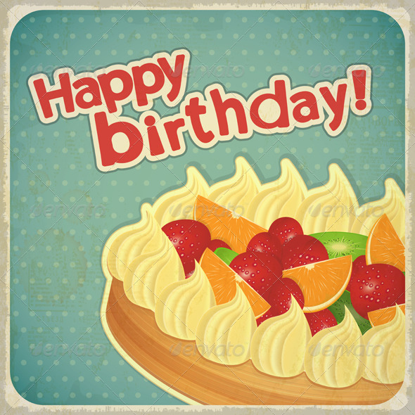 Vintage Birthday Card With Fruit Cake By Elfivetrov