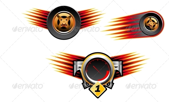 Racing Symbols and Icons - Sports/Activity Conceptual