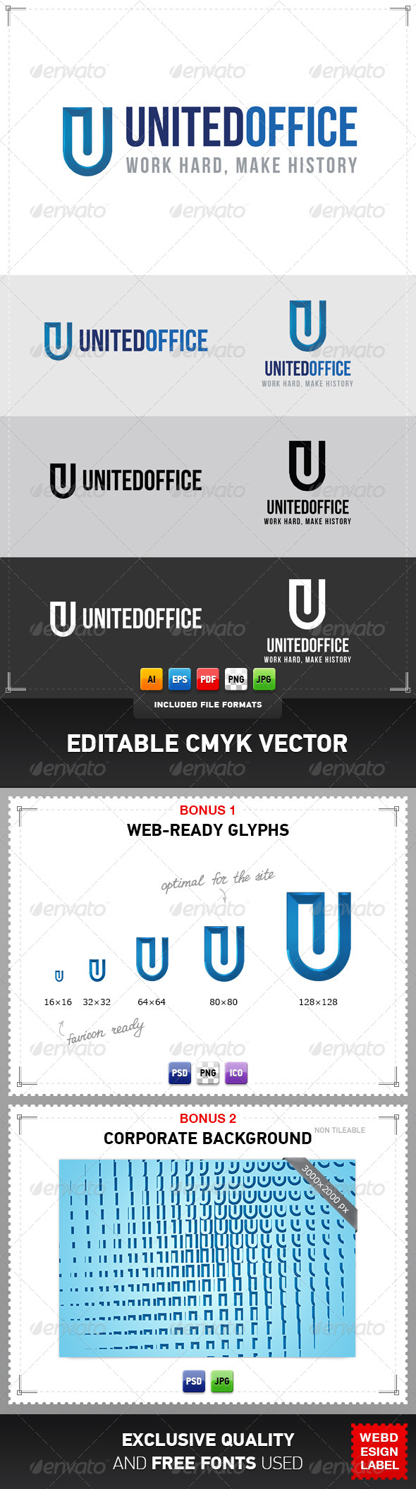 United Office Logo - Letters Logo Templates