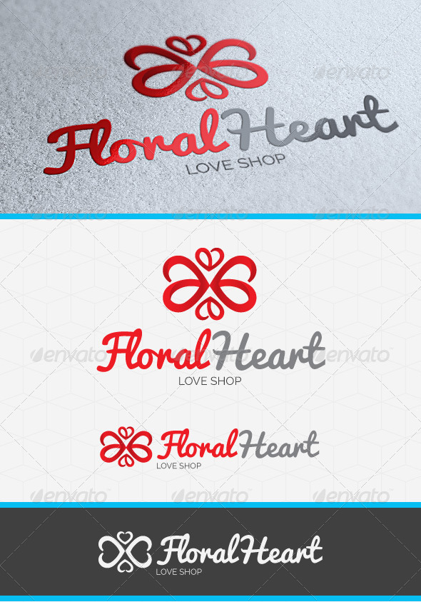 Floral Heart Logo Template - Vector Abstract