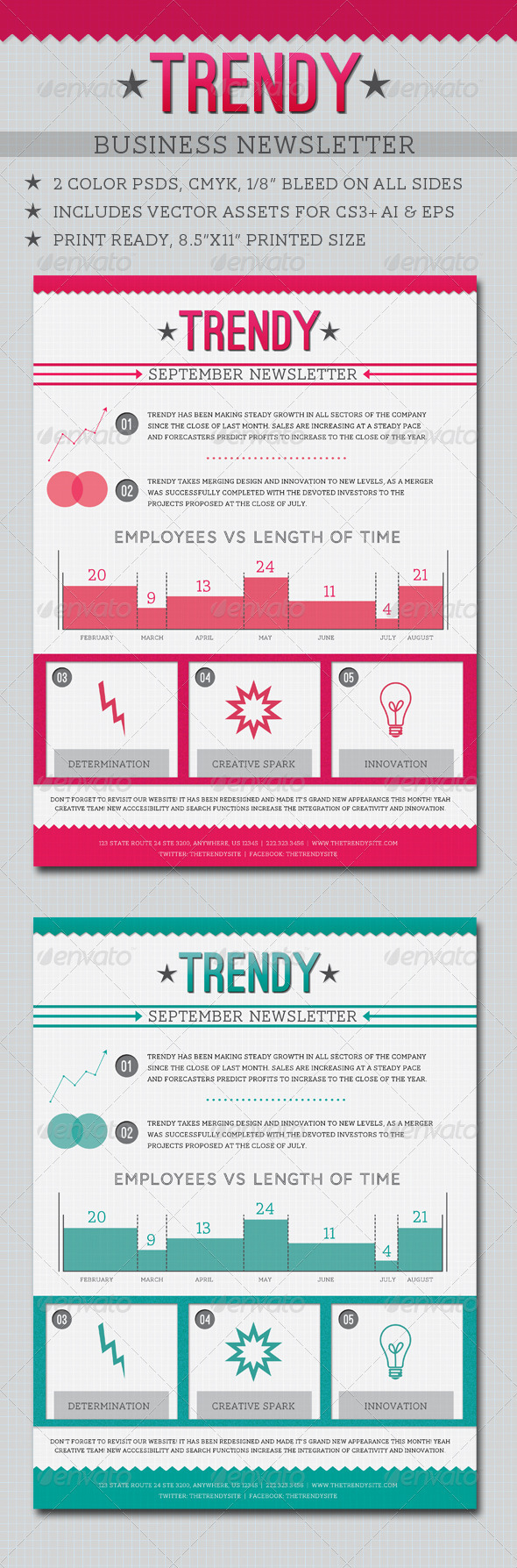 Trendy Business Newsletter - Newsletters Print Templates