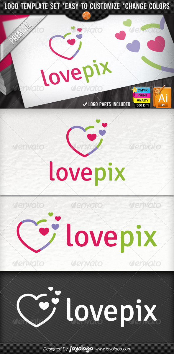 Abstract Pixel Heart Logo Template - Symbols Logo Templates